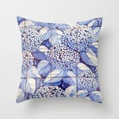 Floral tiles Throw Pillow