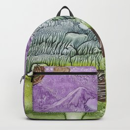 Cat smile- abstract watercolor landscape monotype Backpack