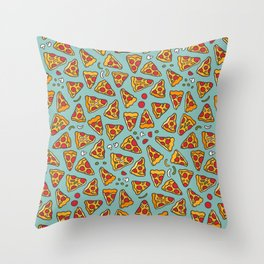 Funny pizza pattern Throw Pillow