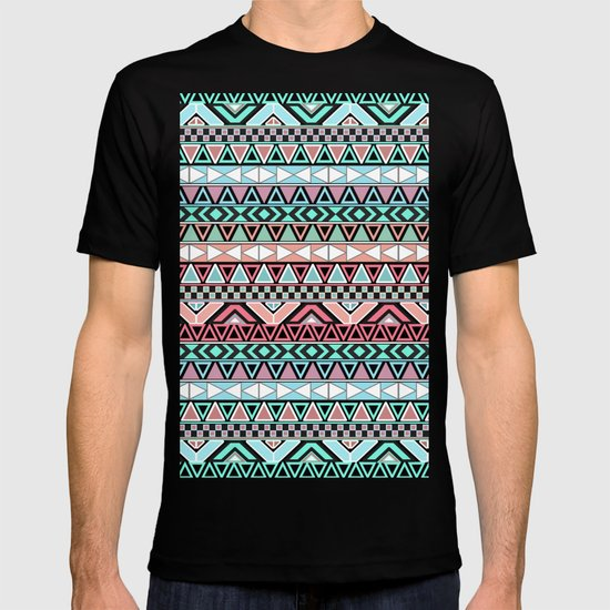 Pastel me | Andes Teal Pink Cute  Abstract Aztec Pattern T-shirt