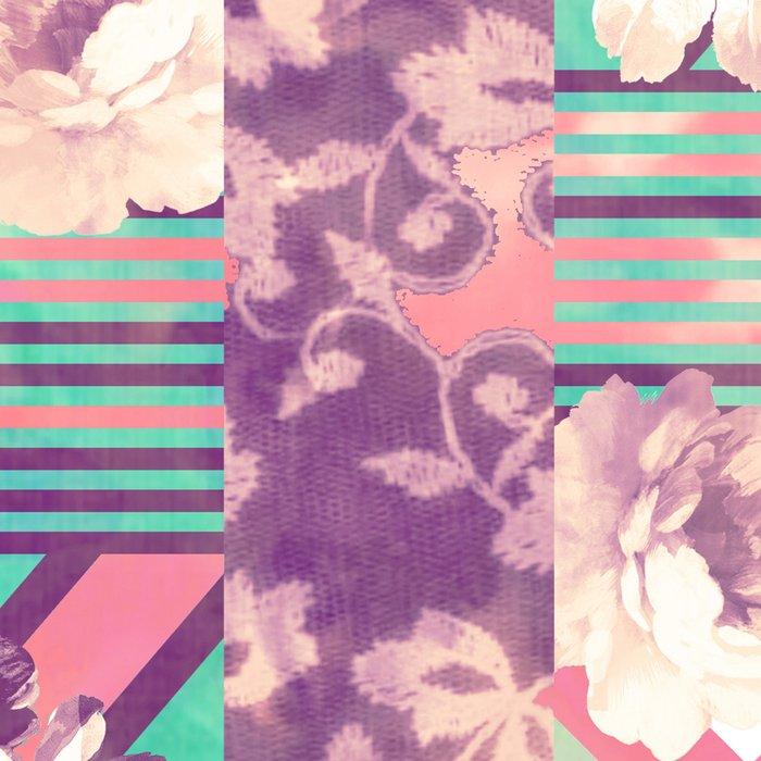 Retro Pink Turquoise Floral Stripe Chevron Pattern Leggings