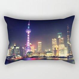 Shanghai Cityscape At Night Rectangular Pillow