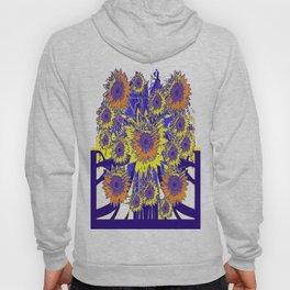 Sunflower Field Blue Shadows Abstract Hoody