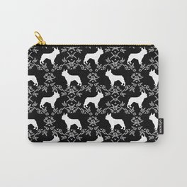 French Bulldog floral minimal black and white pet silhouette frenchie pattern Carry-All Pouch