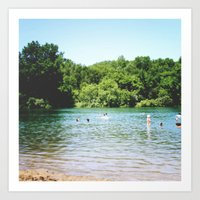 swim Art Prints featuring Swim by Christine Hall