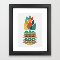Colorful Whimsical Ananas Framed Art Print