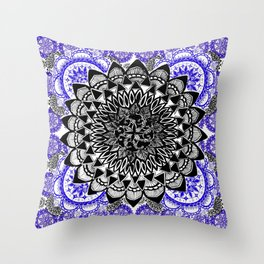 Blue and Black Patterned Mandala Throw Pillow
