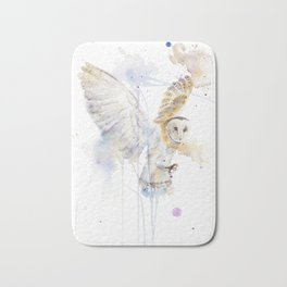 "Watercolor Painting of Picture ""White Owl"" Bath Mat"
