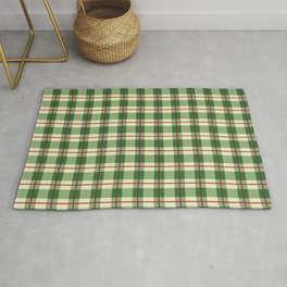 Plaid Pattern in Green and Beige Rug