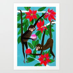 Spider Monkeys Holiday Card Art Print