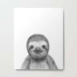 Baby Sloth Black & White Art Print, by Zouzounio Art Metal Print