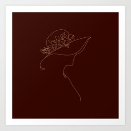 Line art drawing lovely girl wearing a hat with flower illustration Art Print