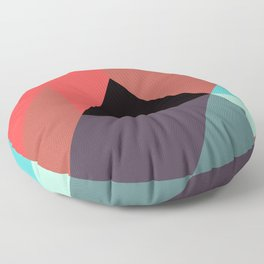 Red Black Blue Triangles Floor Pillow