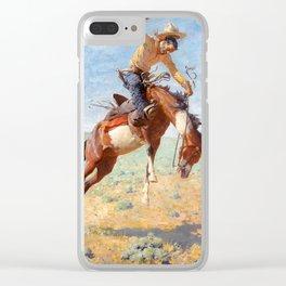 "William Leigh Western Art ""Bucking Bronco"" Clear iPhone Case"