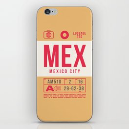 Retro Airline Luggage Tag 2.0 - MEX Mexico City International Airport Mexico iPhone Skin