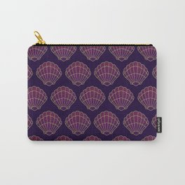 Violet & Gold Scallop Shell Pattern Carry-All Pouch