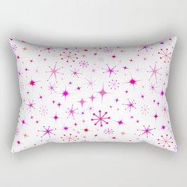 Atomic Starry Night in White + Mod Pink Rectangular Pillow