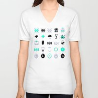 8 bit V-neck T-shirts featuring 8-Bit Bling by Spires