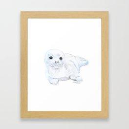 Baby Harp Seal Watercolor Framed Art Print