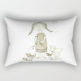 The Dog Walker.  Rectangular Pillow