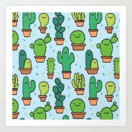 Cute Cactus Cacti Pattern Light Blue Background Art Print