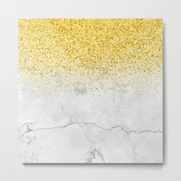 Gold Glitter and Grey Marble texture Metal Print