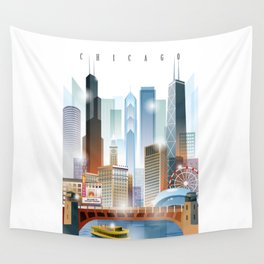 Chicago city skyline painting Wall Tapestry
