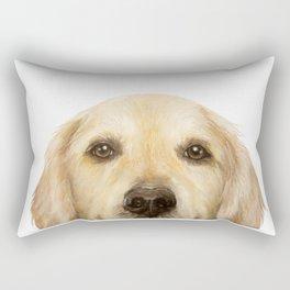 Golden retriever Dog illustration original painting print Rectangular Pillow