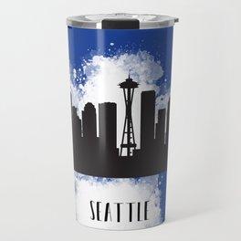 Seattle skyline silhouette Travel Mug
