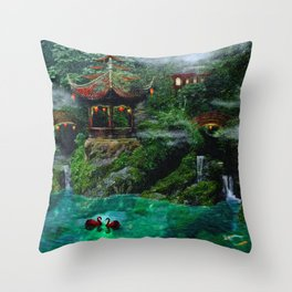 Tale of the Red Swans Throw Pillow