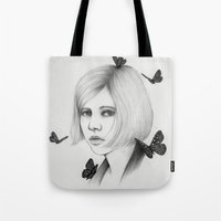 aurora Tote Bags featuring Aurora by The White Deer