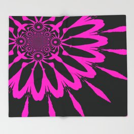 The Modern Flower Black & Fuchsia Throw Blanket