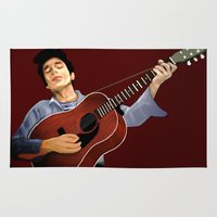 dylan Area & Throw Rugs featuring Bob Dylan by Derek Donovan