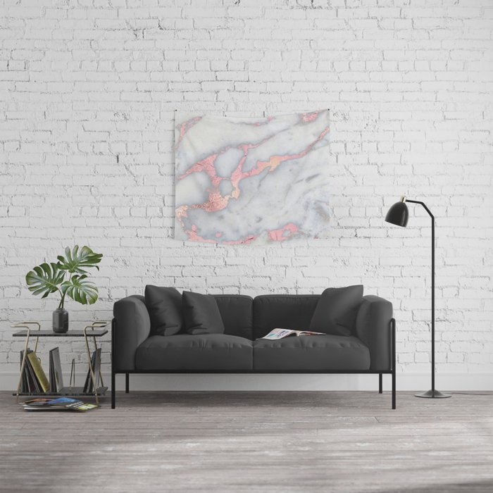 Rosegold Pink on Gray Marble Metallic Foil Style Wall Tapestry