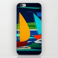 sailing iPhone & iPod Skins featuring sailing by laika in cosmos