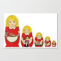 50s Canvas Prints featuring 50s Housewife Russian Doll by Yana Elkassova