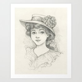 Sketch of an Edwardian Lady Art Print