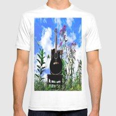 Music & Nature White MEDIUM Mens Fitted Tee