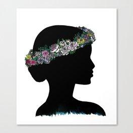 Flower Crown Silhouette Canvas Print