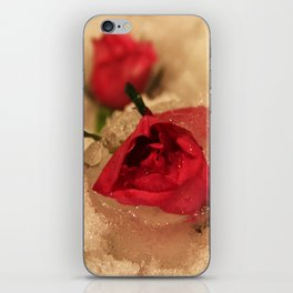 Frozen roses in the snow iPhone Skin