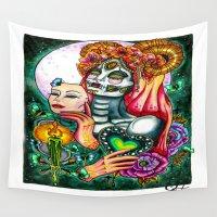 dia de los muertos Wall Tapestries featuring Dia De Los Muertos by Lady Noire