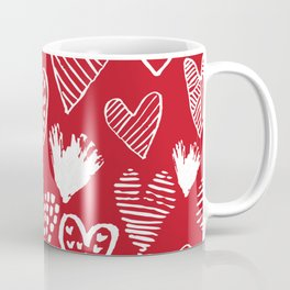 Herats red and white pattern minimal valentines day cute girly gifts hand drawn love patterns Coffee Mug