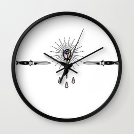 Blackwork Rose Holographic Shining in Knifes Design Wall Clock