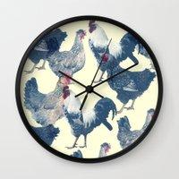 chicken Wall Clocks featuring CHICKEN by austeja saffron