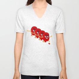 red bean Unisex V-Neck