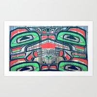 Alaskan Art - Man and Birds Art Print