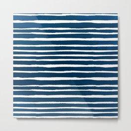 Geometrical navy blue white watercolor stripes Metal Print