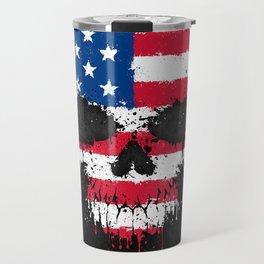 Flag of The United States on a Chaotic Splatter Skull Travel Mug
