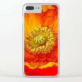 RED-ORANGE-YELLOW ABSTRACTED POPPY FLORAL Clear iPhone Case