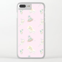 Vintage Baby Room Repeat in Light Pink Clear iPhone Case